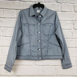 cAbi blue and white locomotive jean jacket